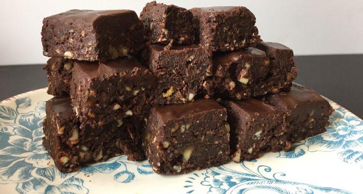 Raw Brownies with Chocolate Ganache